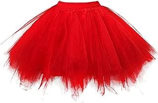 OBBUE Women's Short Vintage Petticoat Skirt Ballet Bubble Tutu Multi-Colored