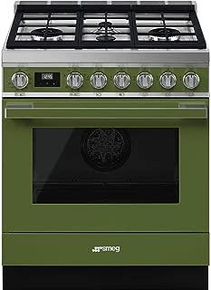 Smeg Portofino Aesthetic Pro-Style 30-Inch Freestanding Dual Fuel Range (Olive Green)