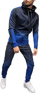 Nansiche Men Sport Muscle Set Sportswear Zip Hoodie Sweater Gym Tracksuit Athletic Casual Apparel