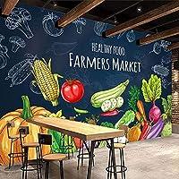 スーパーマーケットフルーツショップレストラン3D壁紙クリエイティブ手描き健康食品果物野菜壁壁画自己粘着性壁紙 300x210CM