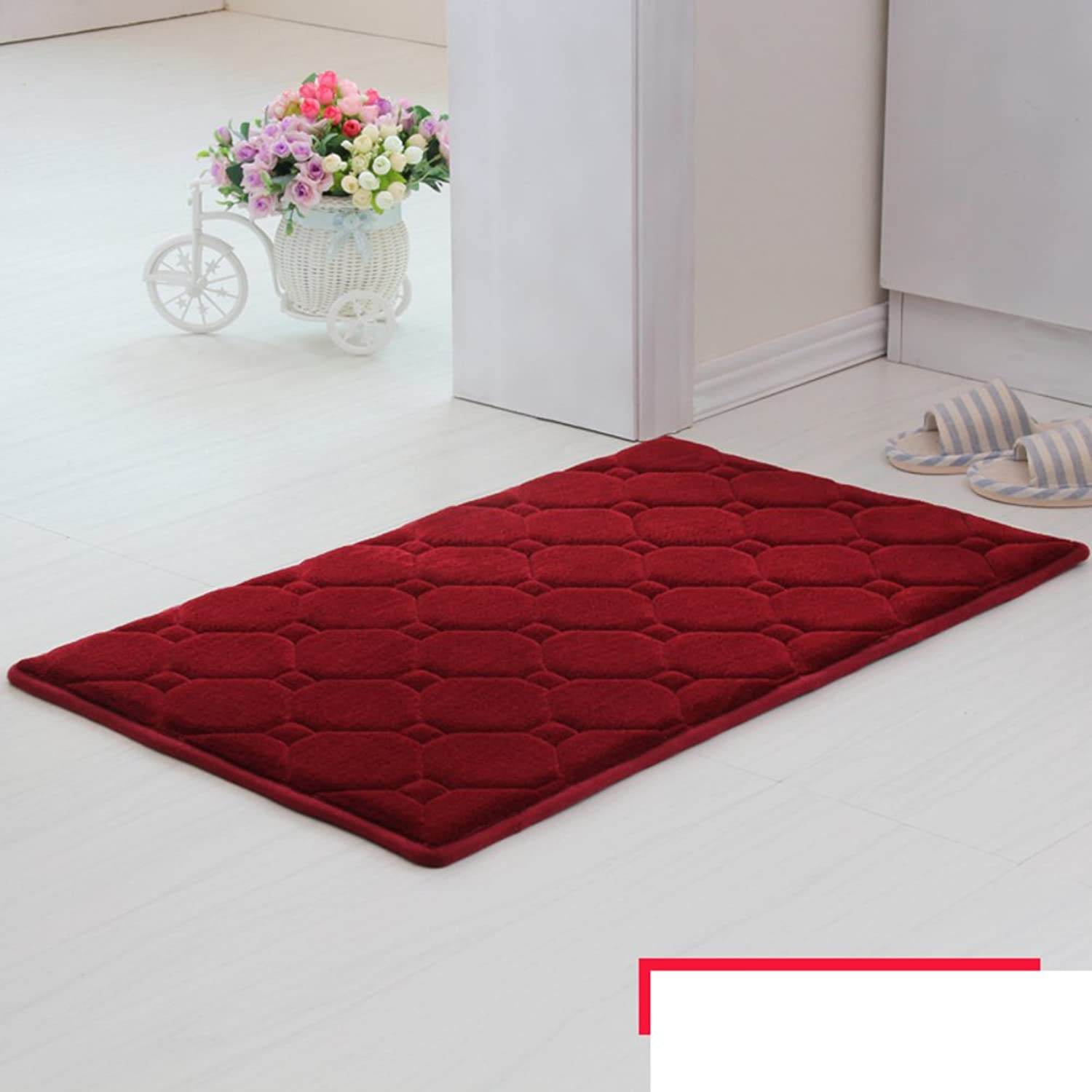 Memory Cotton mats Door mats Bathroom Living Room Kitchen Water Absorption Non-Slip mat-H 100x140cm(39x55inch)