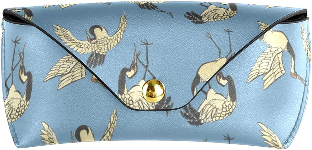 Multiuse Cranes Animal Bird Sunglasses Case Eyeglasses Pouch PU Leather Cute Goggles Bag Portable