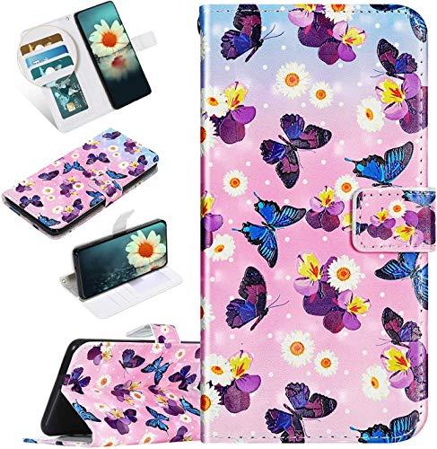 Urhause Kompatibel mit iPod Touch 6 Hülle Karikatur Gedruckt Leder PU Handyhülle Magnetverschluss Standfunktion Handytasche Brieftasche Tasche Kartenfach Etui Wallet Lederhülle Case, Schmetterlinge