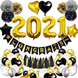 【Unforgettable 2021 Graduation Party】Turn any room into an eye-catching surprise party with our classy and shiny celebration graduation balloons kit to celebrate an important milestone. The valuable graduation decorations party supplies with carefull...