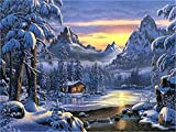 Diy Oil Painting Paint by Number Kit for Adults Beginner 16x20 inch - Winter Snow Scene Forest Cabin, Drawing with Brushes Christmas Decor Decorations Gifts (Without Frame)