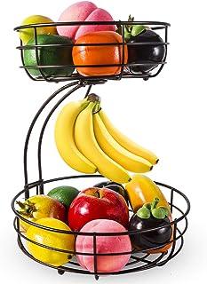 2層フルーツ スタンド フルーツバスケット バナナ吊りフック付き ワイヤ モダンな果物かご、野菜収納スナックホルダーラックブレッドスタンド