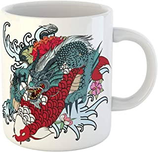 Emvency Coffee Tea Mug Gift 11 Ounces Funny Ceramic Dragon and Koi Fish Flower Tattoo for Arm Japanese Carp Line Drawing Coloring Gifts For Family Friends Coworkers Boss Mug