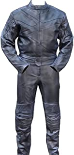 Perrini 2pc Motorcycle Riding Racing Track Suit w/padding All Leather Drag Suit Black