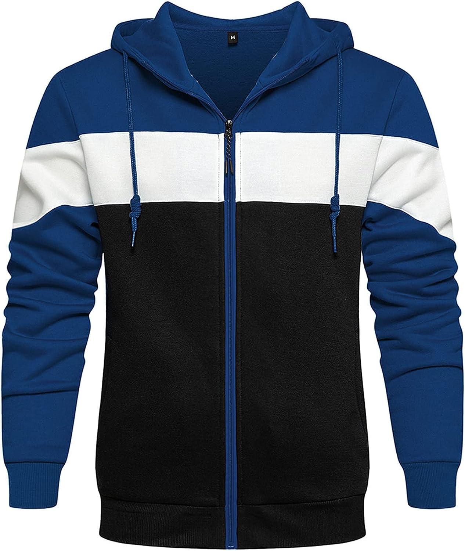 UOKNICE MEN-TOPS Mens Patchwork Workout Sweatshirt Sport Pullover Comfy Loose Long Sleeve Hoodies