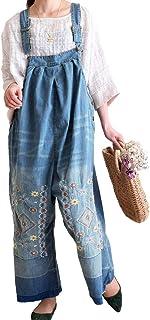 [ゴールドジャパン] 大きいサイズ レディース 花 刺繍 サロペット ワイド デニム パンツ ロング