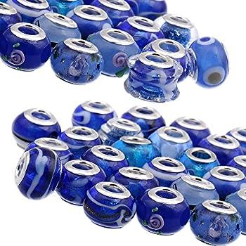 RUBYCA Mix Royal Blue Murano Lampwork Glass Bead Rondelle European Charm Bracelet Silver Color 30pcs