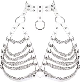 Women's Punk Waist Harness Belt Leather Metal Body Chain Crop Tops