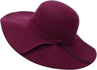 Enerhu Women Hat Belt Buckle Fedora Hat Wide Brim Stylish Ladies Cap Bowtie for Spring Summer