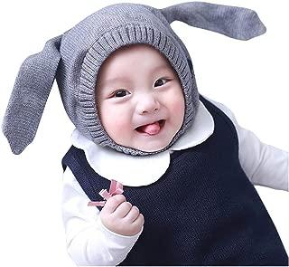 WOCACHI Baby Girls Boys Infant Rabbit Ear Knit Crochet Beanie Cap Winter Warm Earmuffs Hat