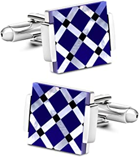 Business Wedding Mother of Pearl Cufflinks for Men Unique Onyx Stripe Tuxedo Cuff Links Mens