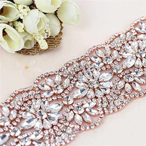 "1Yard Crystal Rhinestone Trim Applique Belt for Bridal Sash and Wedding Dress-Hot Fix or Sew on-Rose Gold(36""2.36""in)"