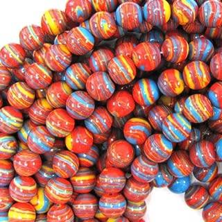 buyallstore 8mm Orange Rainbow calsilica Round Beads 15.5