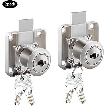Uokoki 2pcs Cilindro de levas Cerradura del caj/ón de Escritorio Armario Gabinete Locker Mobiliario de Hardware de Bloqueo Cerraduras de buzones