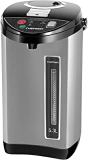 Chefman Instant Electric Hot Water Pot Coffee Urn w/ Auto & Manual Dispense Buttons, Safety Lock, Auto-Shutoff & Boil Dry Protection, UL Certified, Insulated Stainless Steel, 5.3L/5.6 Qt/30+ Cups