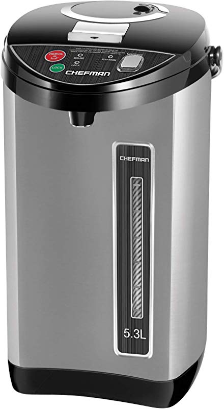 Chefman Instant Electric Hot Water Pot Coffee Urn W Auto Manual Dispense Buttons Safety Lock Auto Shutoff Boil Dry Protection UL Certified Insulated Stainless Steel 5 3L 5 6 Qt 30 Cups
