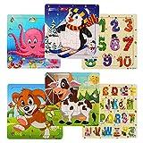 swonuk Puzzle en Bois pour Enfants Jigsaw Puzzle Jouets éducatifs 6 Puzzles en Bois de 20 Pièces