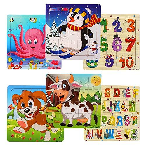 swonuk Baby Holzpuzzle Spielzeug ab 1 2 3 Jahren Jigsaw Puzzles Set Steckpuzzle Pädagogisches Geschenk für Kleinkinder Jungen Mädchen