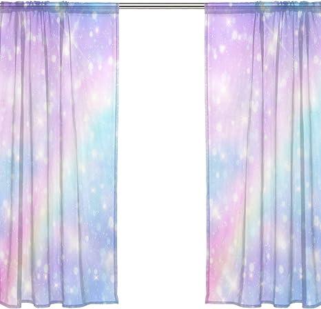 Chen Miranda Galaxy Fantasy Pastel Sky Rainbow Printed Tulle Polyester Window Sheer Curtain Panels Bedroom Living Room Office Draperies Door Window Gauze Shade Curtains 55x84 Inch Two Panels Set Home