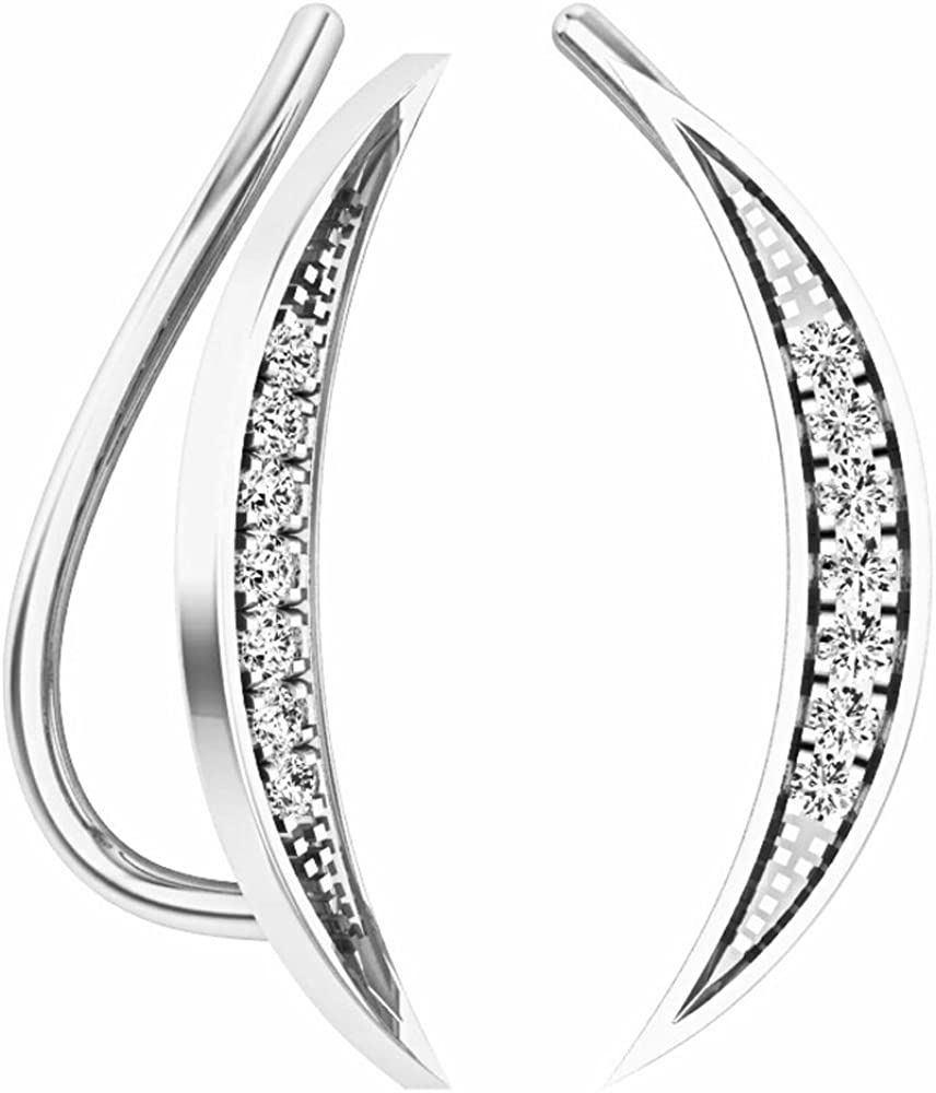 Dazzlingrock Collection 0.15 Carat (ctw) 14K Gold Round White Diamond Ladies Climber Earrings