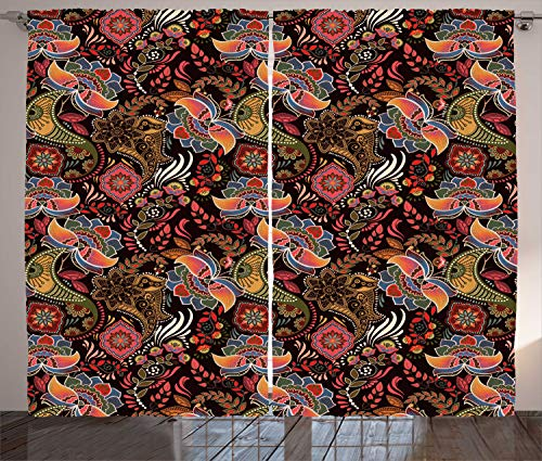 ABAKUHAUS jacobino Cortinas, Revoltijo Tono cálido Floral, Sala de Estar Dormitorio Cortinas Ventana Set de Dos Paños, 280 x 225 cm, Café Oscuro Multicolor