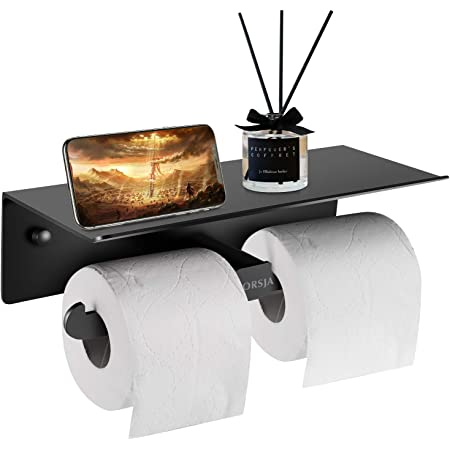 Porte Papier Toilette, Support Papier Toilette Mural avec Double Rouleau pour Tous Les Types de Papier Toilette, Support en Tissu avec étagère spacieuse pour la Cuisine et la Salle de Bain (Noir)