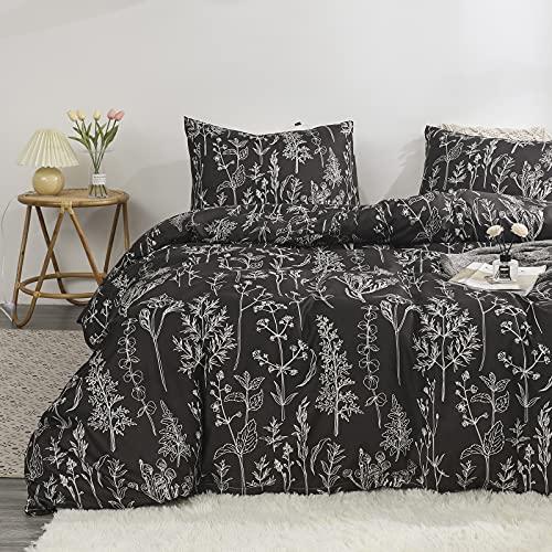 Black Floral Bedding Black White Duvet Cover Sets White Plant Leaves Printed Sketch Flowers Boys Girls Bedding Sets King 1 Duvet Cover 2 Pillowcases (King, Black)