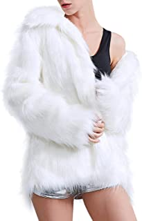 Zicac Faux Fur Coat Winter Warm Fur Jacket Luxury Long Sleeve Overcoat Parka Outerwear for Women Men
