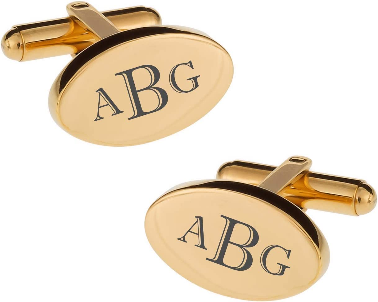 Personalized Stainless Steel Gold Oval Cufflinks Custom Engraved Free - Ships from USA