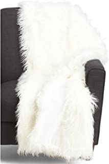 Cynthia Rowley Lush Plush Mongolian Lamb Wool Faux Fur Throw Blanket White