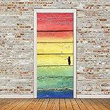 Holztür Muster Tapete 3D Tür Aufkleber Selbstklebende