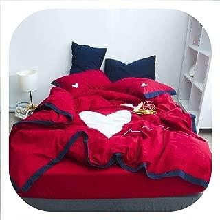 SHILINWEI Yellow White King Queen Twin Size Bedding Set Heart Bed Set Soft Bed Sheet Set Duvet Cover Fitted Sheet Pillowcase Parure De Lit,Bedding Set 2,King Size 4Pcs,Bed Sheet Style