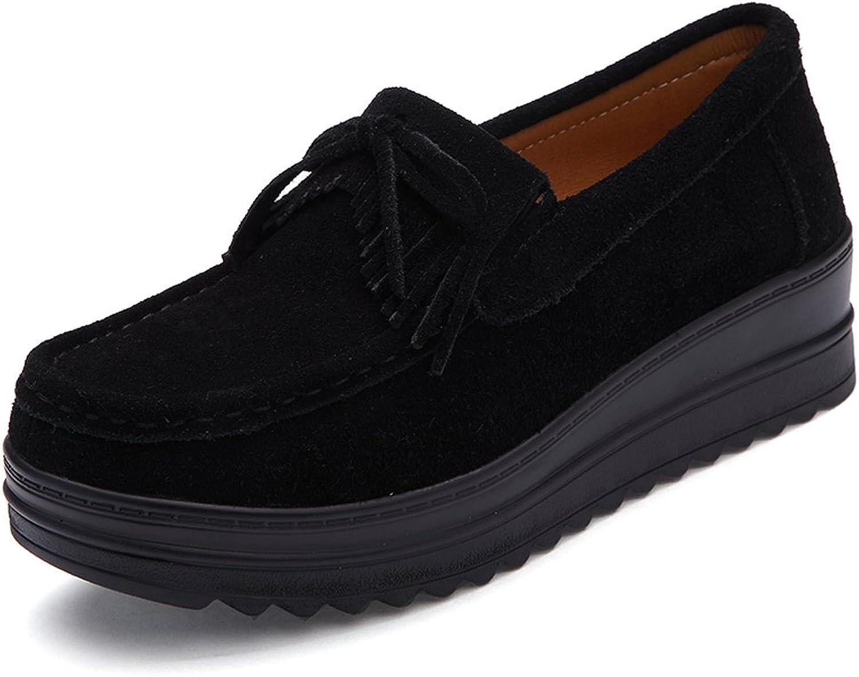 Enllerviid Womens Slip-on Tassel Suede Driving Moccasins Platform Wedges Loafers Comfort Walking shoes