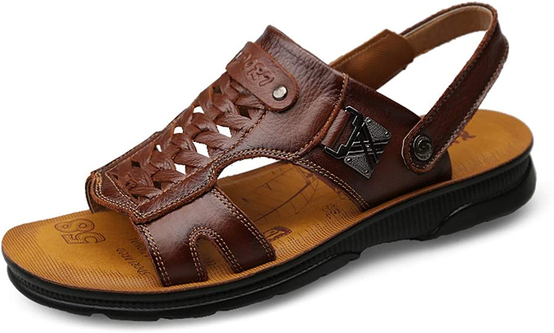 Hilotu Men's Fashion Sandals Casual Comfortable Soft Light Handwoven Metal Decoration Dualpurpose Slippers Beach shoes