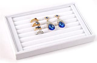 Mvchif 7 Slots Velvet Ring Tray Earrings Studs Show Case Jewelry Display Organizer Stackable Storage Box for Women (White)