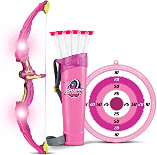 Liberty Imports Light Up Archery Bow and Arrow Toy Set for Girls with 6 Suction Cup Arrows, Target, and Quiver