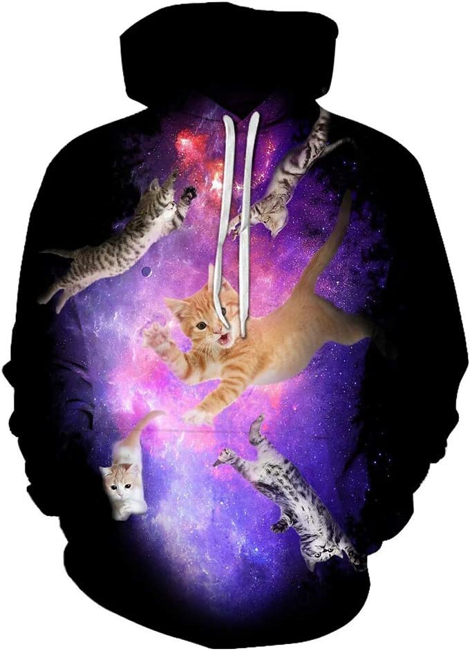 VOHJKENM 3D Pullover 3D Cat Simple Design Pullover Breathable Outwear All-Match Men (Color : A04, Size : Small)