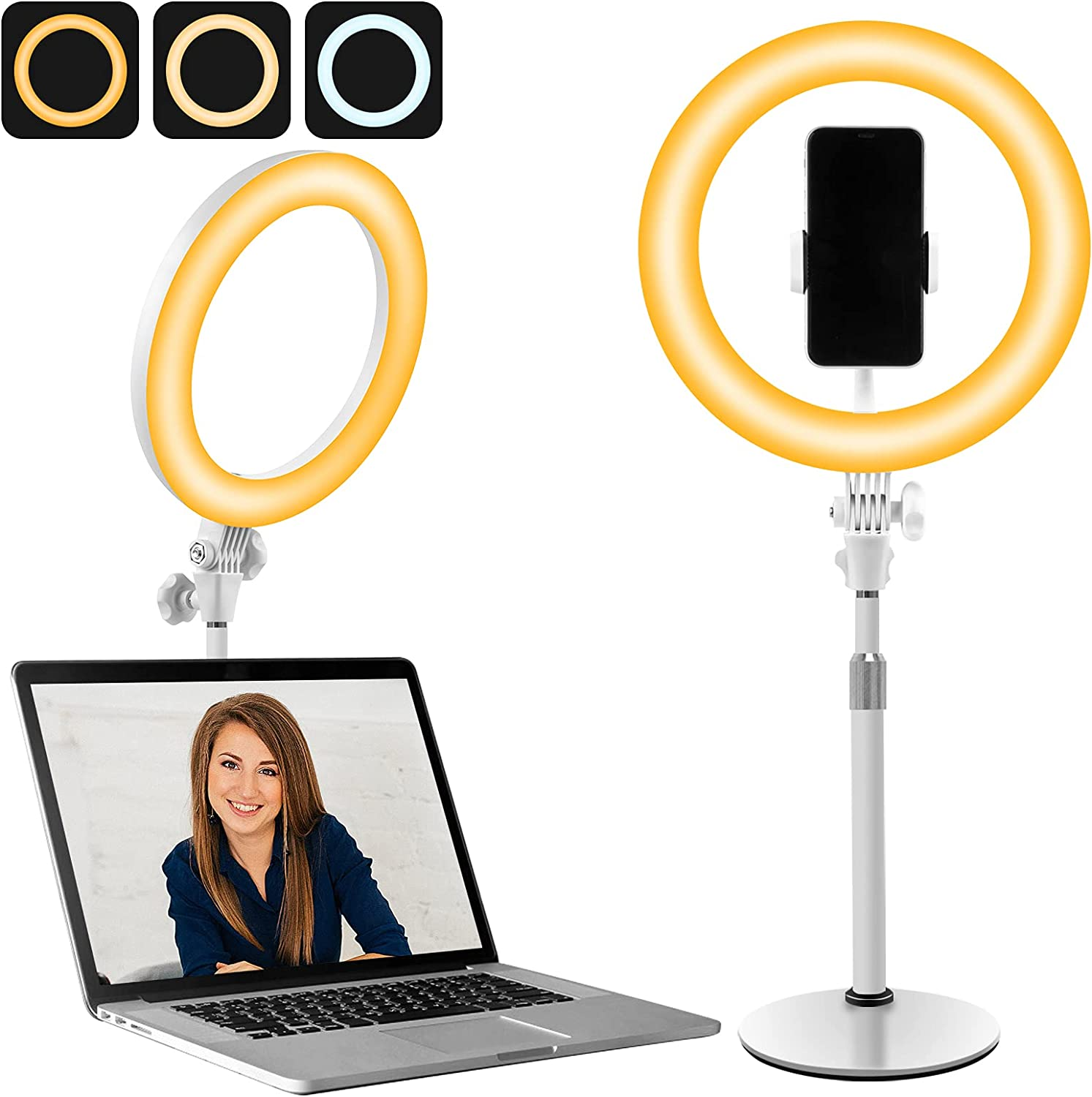 10 Inch LED Ring Light with Stand for Computer   Video Conference Zoom Lighting for Webcam   Camera Selfie Ringlight for Makeup, Conferencing, TikTok & YouTube Live Streaming, 3 Colors x 10 Bris