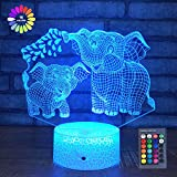 Elephant 3D Night Light for Kids 3D Lamp with 16 Colors Changing Remote Control Elephant Toys 10 9 3 5 2 8 1 7 6 4 Year Old Girls Women Baby Boys Gifts