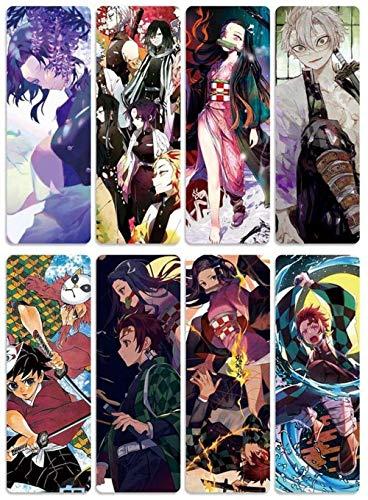 Segnalibri anime per fan anime, regalo per cosplay, 8 pezzi Demon Slayer segnalibri, RTHR-2413 anime giapponese per donne, uomini, bambini, studenti e insegnanti