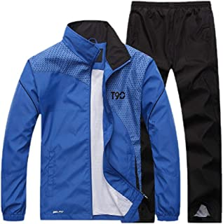 Mens Casual Breathable Jacket and Pants Sports Full Zip Outfits Jogging Jogger Sweatsuits