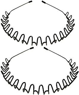DELFINO Metal Headbands, Metal Hair Hoop Fashion Unisex Black Hairband Spring Wave Non Slip Sports Headwear Hair Hoop Hair...