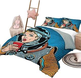 Nomorer Imprimir Funda nórdica King Size Art Colchas Coverlet Pop Art Astronaut Lady Beverage