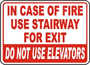 Vinly Safety Sign Decal in Case of Fire Elevators Out of Service Danger Notice Warning Sign Safe Sticker for Indoor & Outdoor Use Waterproof 6