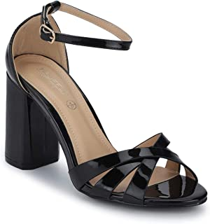TRUFFLE COLLECTION Women's 1732B-12 Black Patent Fashion Sandals