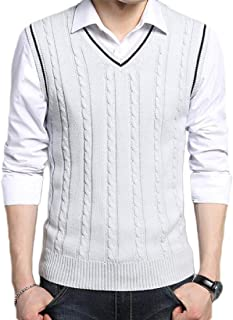 Men's Casual V-Neck Cable Knit Sweater Vest Slim Fit Waistcoat Sweater